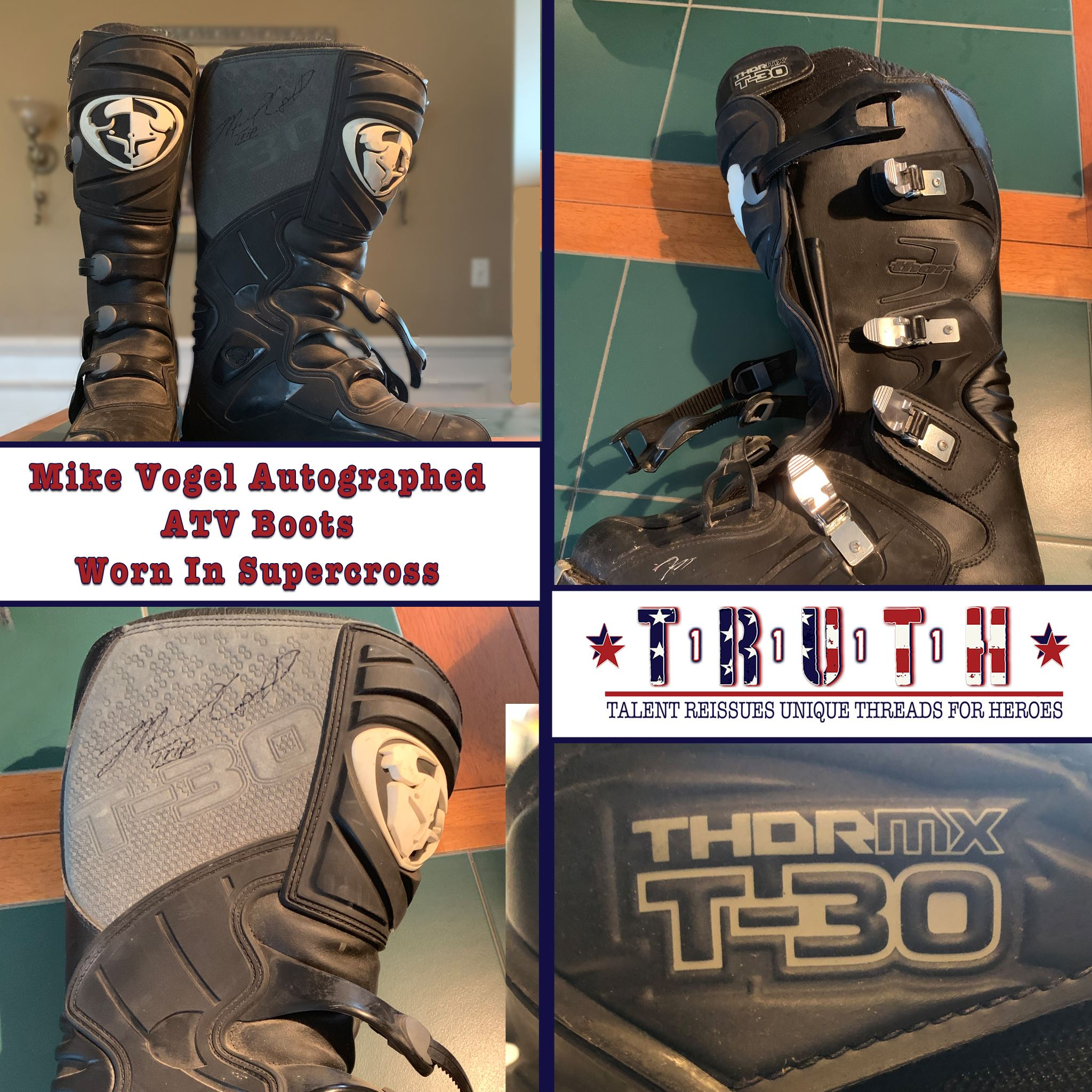 Thor MX T-30 ATV Boots Worn And Autographed By Mike Vogel